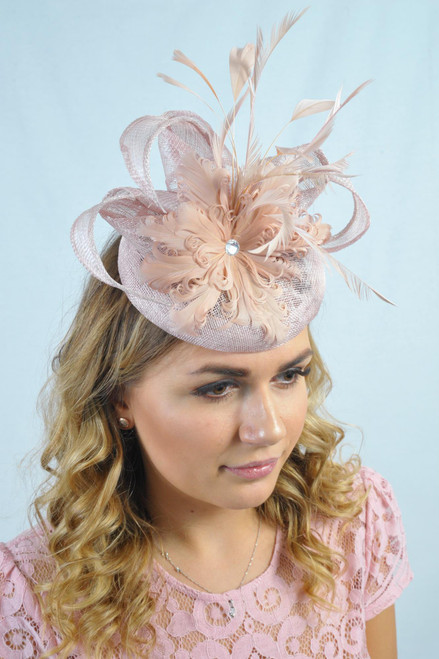 Dusky Pink Showstopper Sinamay Curled Feather Diamante Fascinator
