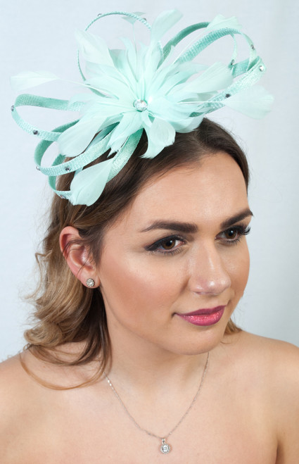 Mint Green Sinamay Loop Diamante Flower Fascinator