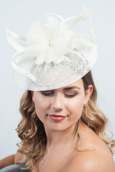 Cream Floral Flower Sinamay Diamante Fascinator