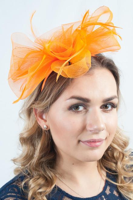 Orange Tulle Floral Feather Fascinator