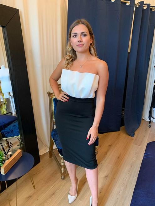 Michaela Monochrome Bandeau Ruffle Occasion Dress