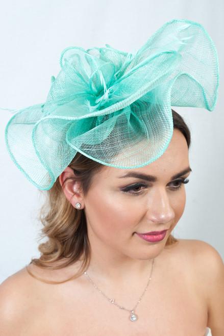 Clarisa Mint Green Sinamay Ruffle Fascinator