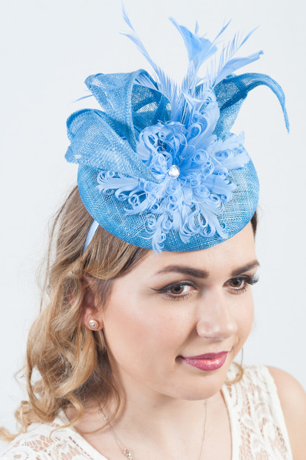 Sky Blue Showstopper Sinamay Curled Feather Diamante Fascinator