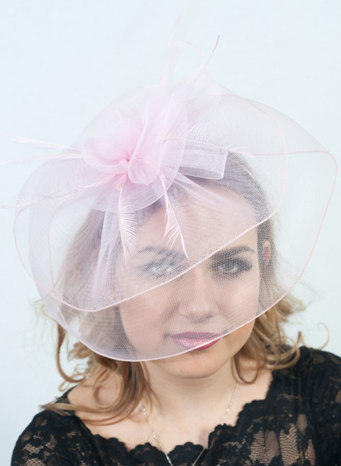 Pink Oversized Crin Veil Feather Fascinator
