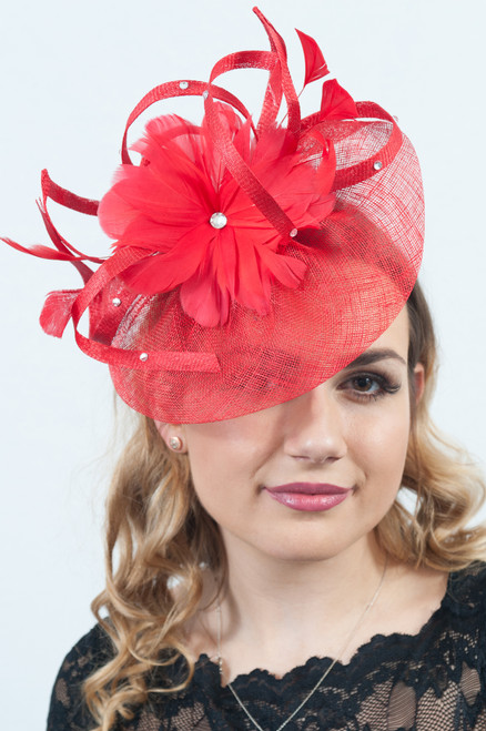 Rouge Red  Floral Flower Sinamay Diamante Fascinator