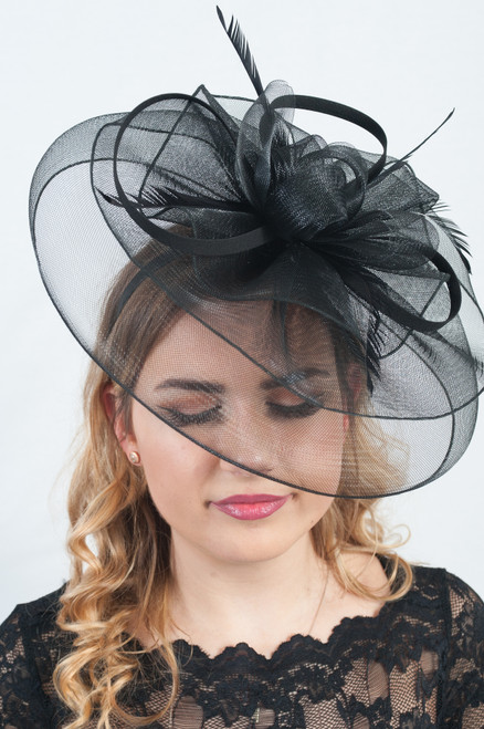 Noir Black Oversized Veil Crin Feather Fascinator