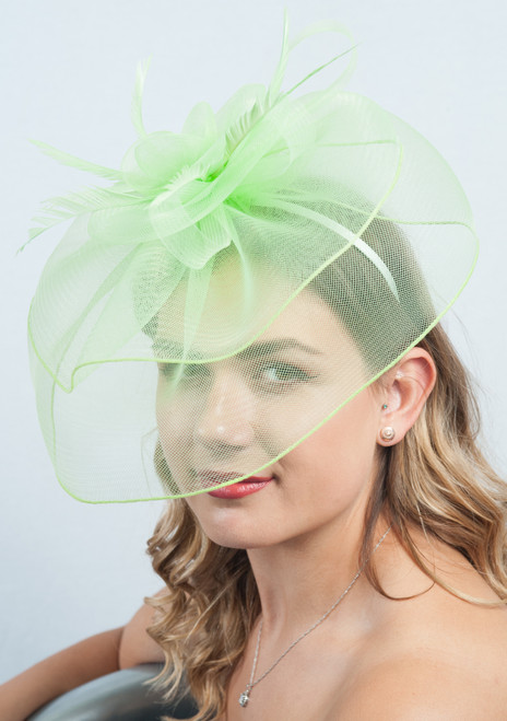 Lime Oversized Crin Veil Feather Fascinator