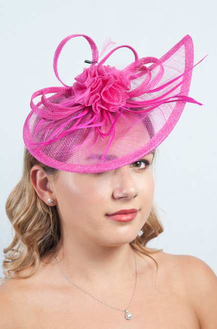 Hot Pink Teardrop Sinamay Fascinator