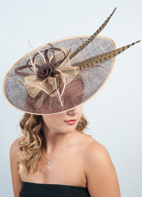 Lucia Brown & Gold Extra Large Sinamay & Feather Hatinator Fascinator