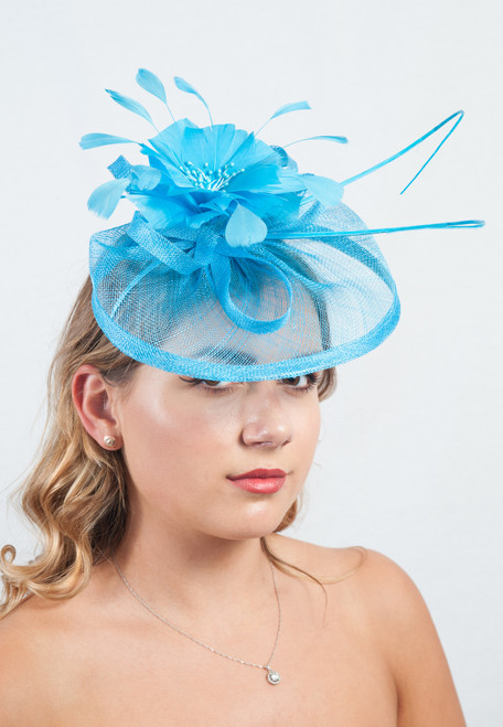 Sky Blue  Antara Bloom Floral Sinamay Fascinator