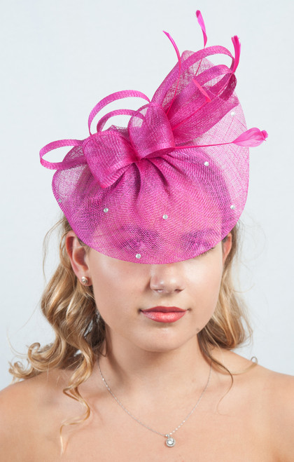 Luna Hot Pink Diamante Veil Sinamay Fascinator