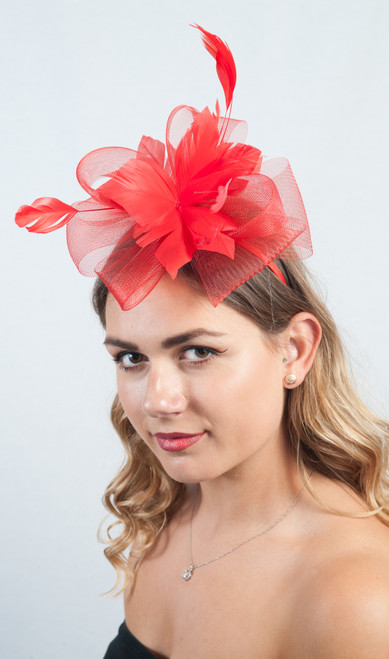 Red Rouge  Floral Bloom Feather Fascinator
