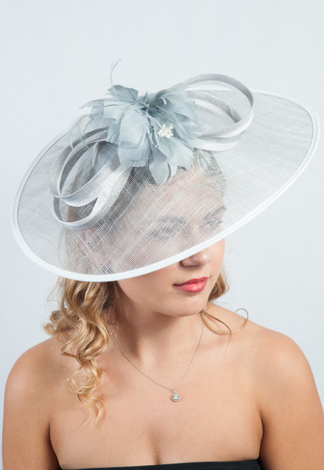 The Extravagance  Grey & Blanc Extra Large Sinamay  Anatra Bloom Fascinator