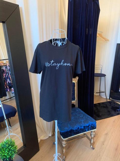 #ClairesChance T Shirt Oversized Black #StayHome Short Sleeve Tee