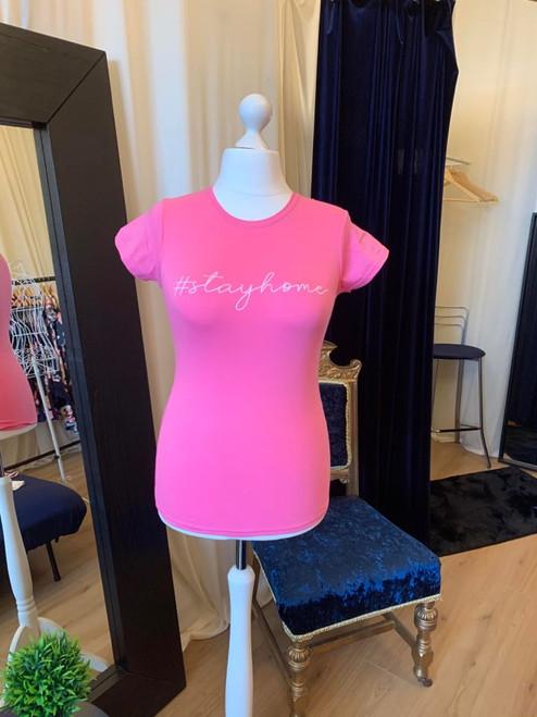 #ClairesChance T Shirt Pink #StayHome Short Sleeve Tee