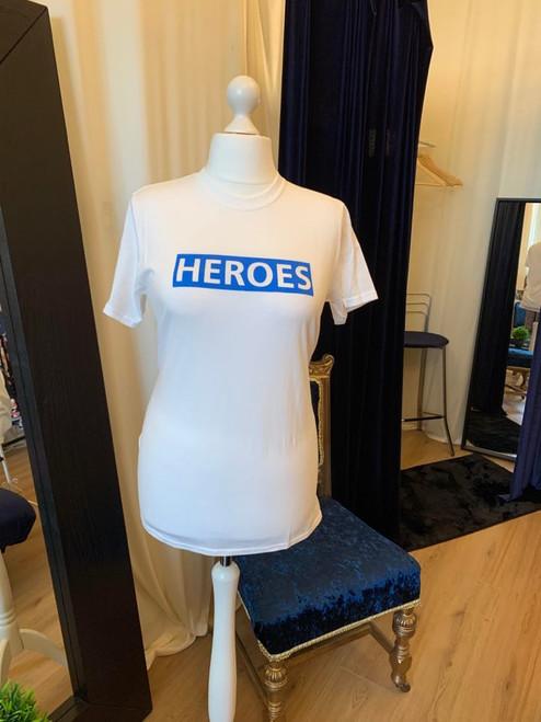 #ClairesChance T Shirts Heroes NHS Slogan Short Sleeve Top