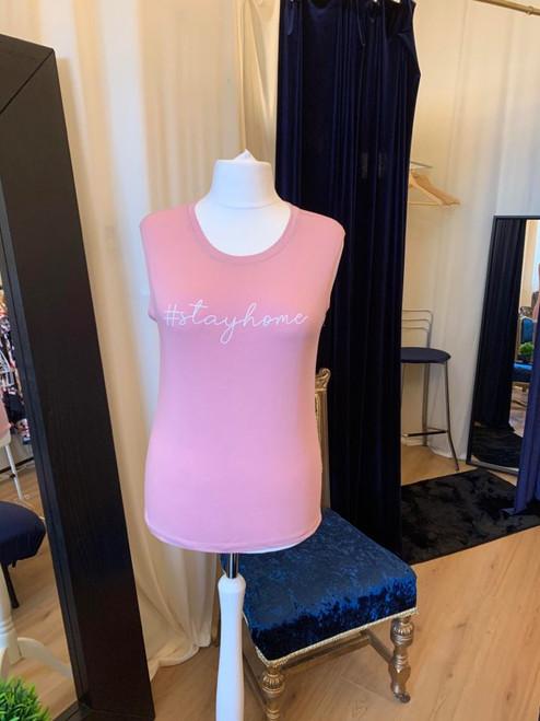 #ClairesChance T Shirts Pink #StayHome Cotton Sleeveless Top