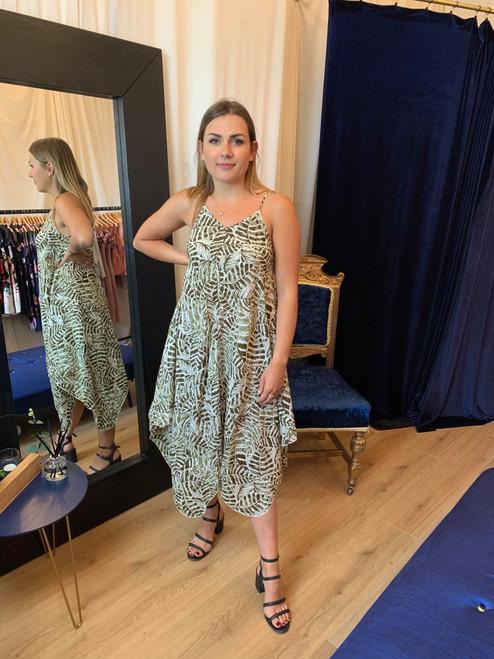 Bali Nights Leaf Print Hanky Hem Dress