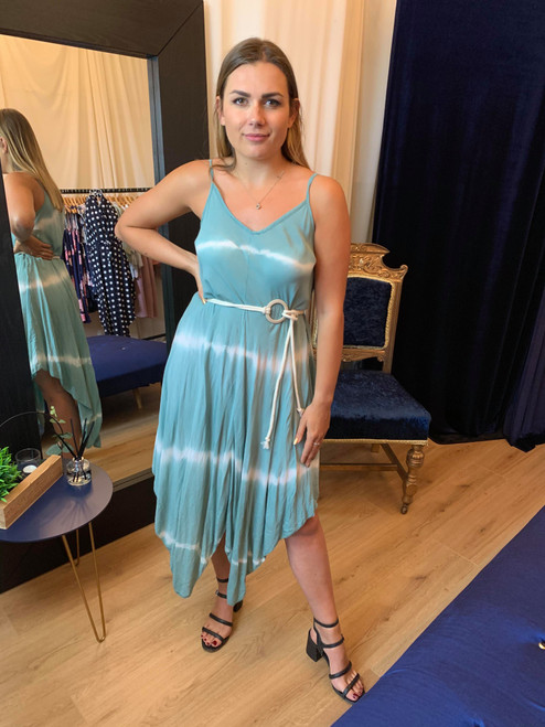 Aegean Ocean Green Tie Dye Asymmetric Dress