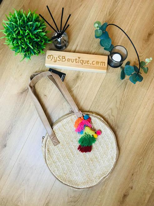 Bahama Passion Round Straw Boho Tassel Bag