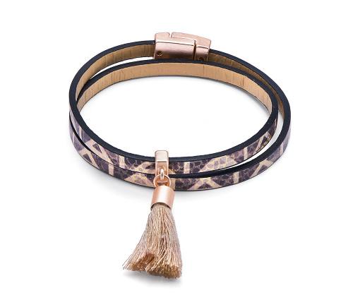 Boho Chic Leather Look Aztec Tassel Bracelet