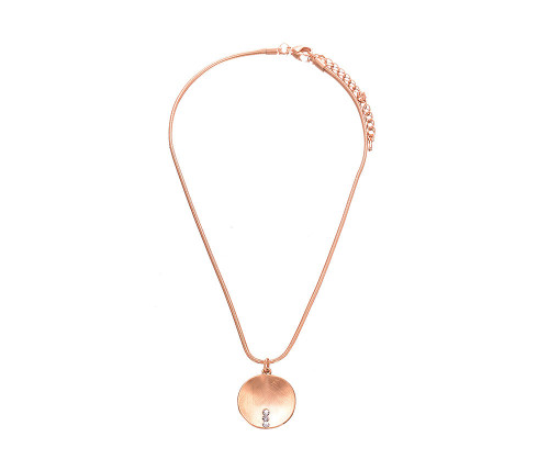 Fable England Brushed Gold Crystal Round Pendant & Chain