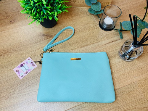 Hold On Tight Turquoise Saffiano Effect Clutch Bag