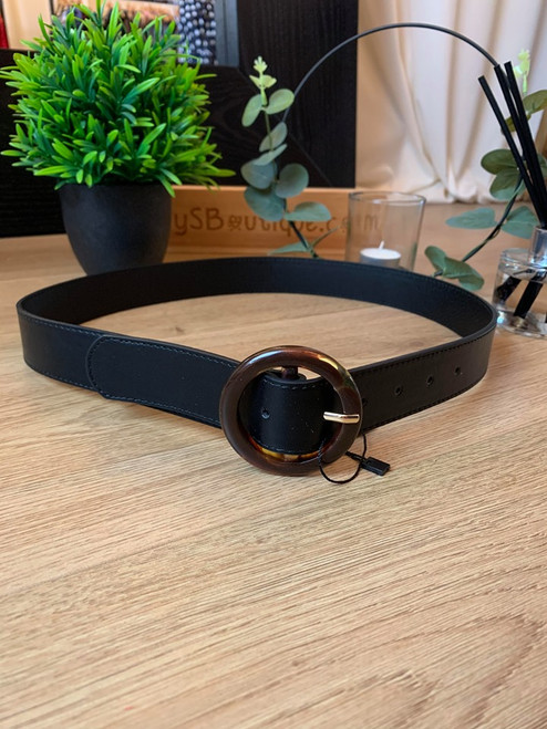 Xcaret Tortoise Shell Ring Black Faux Leather Belt