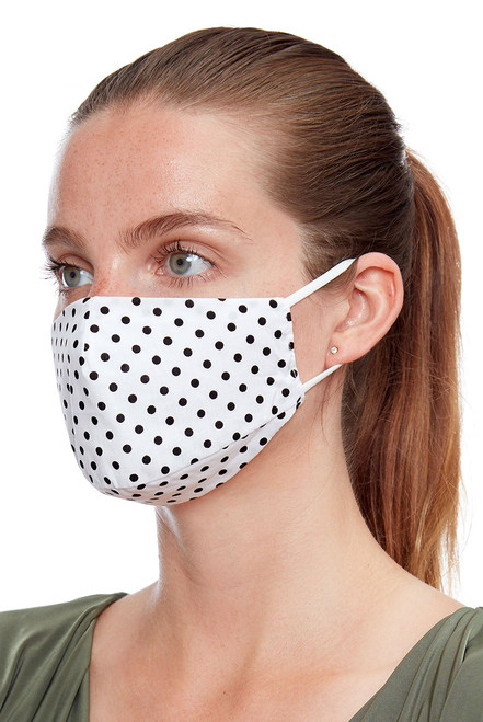 White Polka Dot Soft Jersey Face Mask