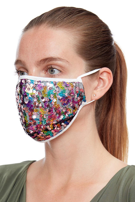 Rainbow Multicoloured Sequin Soft Jersey Face Mask