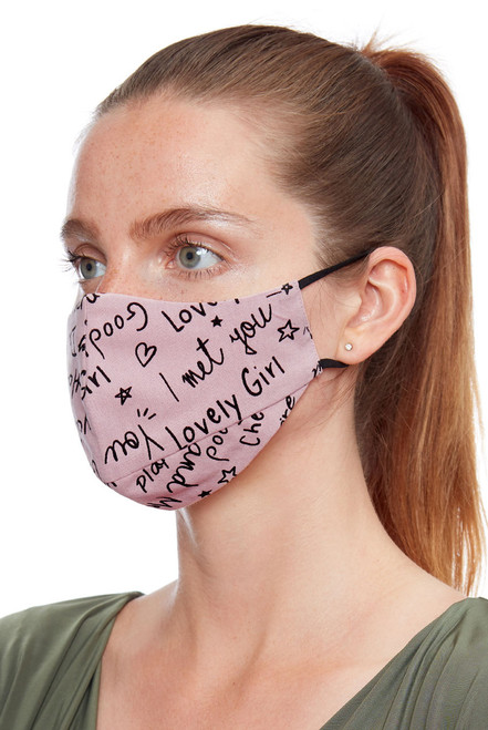 Met a Lovely Girl Slogan Blush Pink Soft Jersey Face Mask