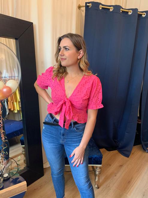 Sweetie Pie Pink Broderie Anglaise Peplum Tie Front Short Sleeve Top