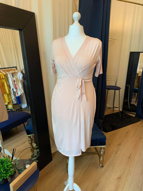 Its A Wrap Nude Short Sleeve Wrap Dress