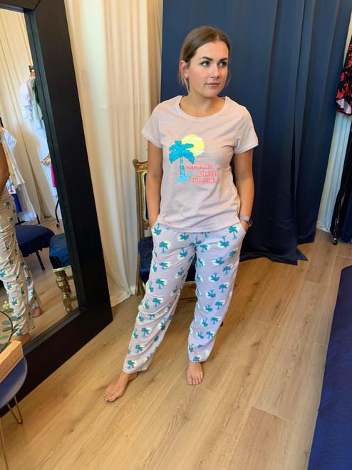 Chasing the Sun Lilac Palm Print Pyjama Set