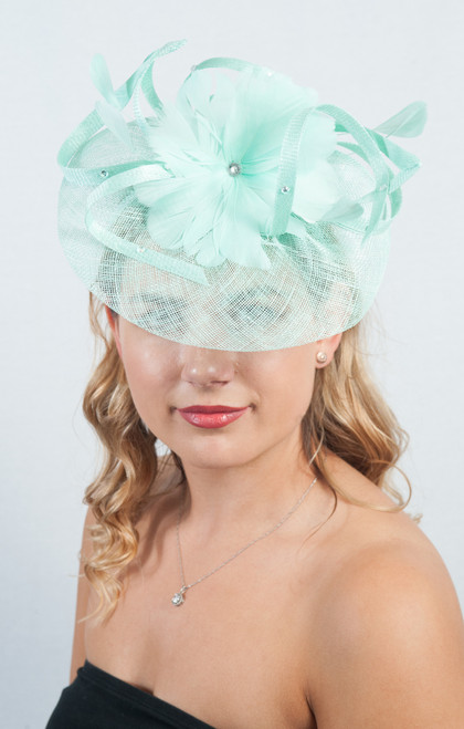 Mint Green Floral Flower Sinamay Diamante Fascinator
