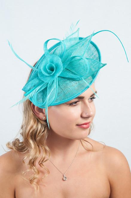 Turquoise Sinamay Floral Loop & twill Fascinator