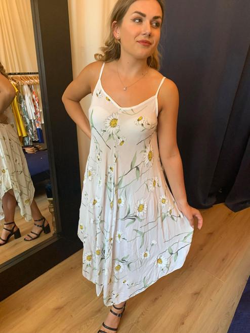 Sunflower Meadows White Floral Hanky Hem Dress