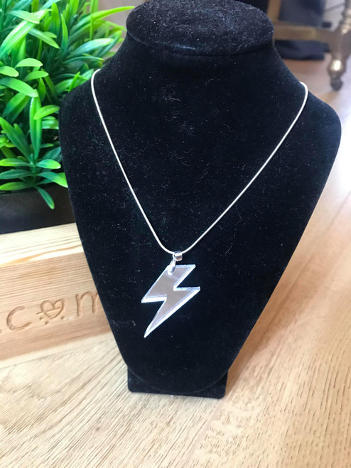 Can't Strike Me Down Silver Lightning Bolt Handmade Necklace