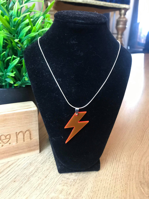 Can't Strike Me Down Handmade Bright Red Lightning Bolt Necklace