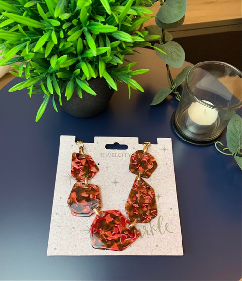 Statement  Red Tortoise Shell Necklace