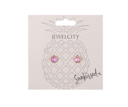 Iridescent Eyes Hot Pink Small Square Stud Earrings