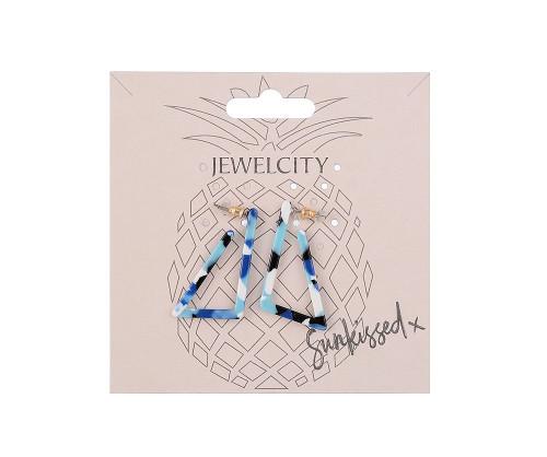 Living On The Edge Blue Geometric Print Triangular Earrings