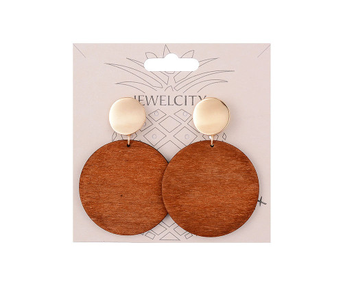 Beverly Hills Large Wood Disc Earrings