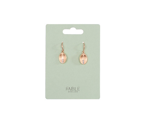 Fable England Brushed Gold Oval Earrings