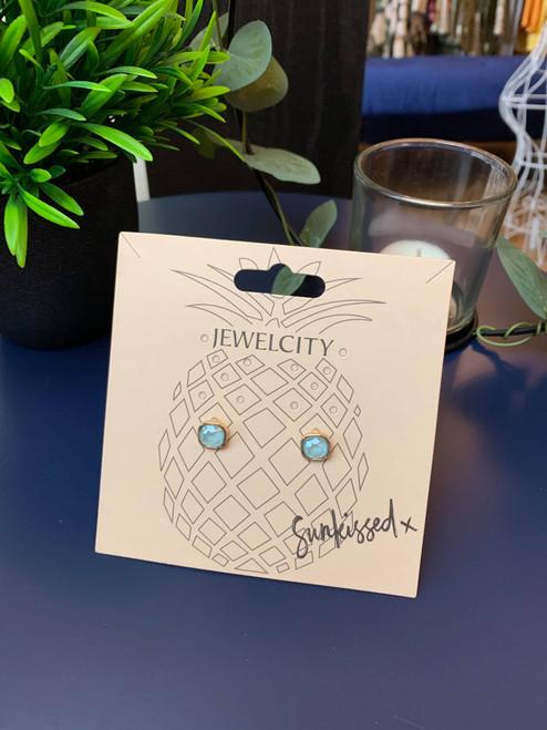 Iridescent Eyes Light Blue Small Square Stud Earrings