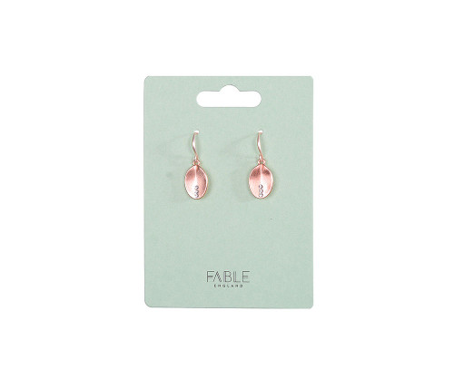 Fable England Brushed Rose Gold Oval Earrings