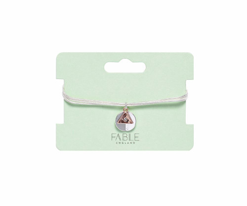 You Mean The World To Me Two Tone Circle and Triangle Friendship Charm Bracelet