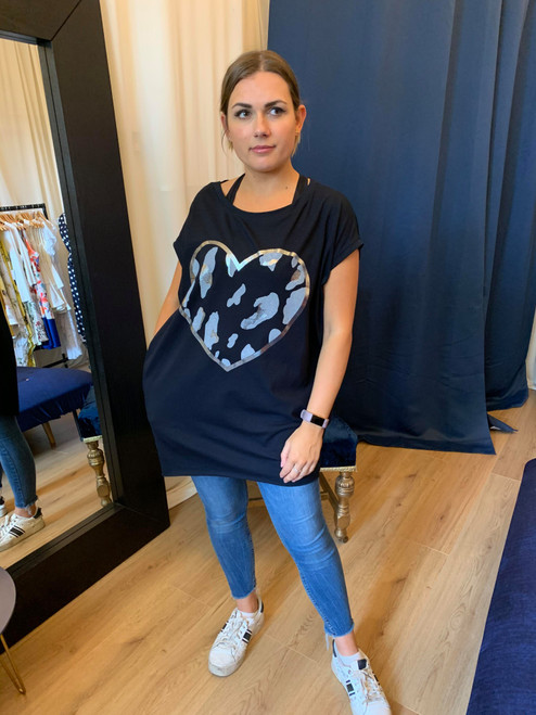 Wild At Heart Black Leopard Print Heart Motif Oversized Top