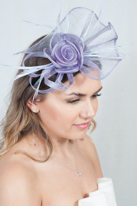 Opulence Lilac Sinamay Floral Feather  Fascinator