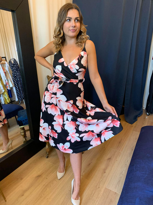 Blossoming Beauty Black Floral Belted Wrap Midi Dress